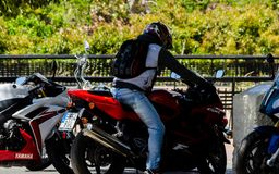 内尔哈,西班牙- 2018年6月10日摩托车集会在著名安达 图库摄影