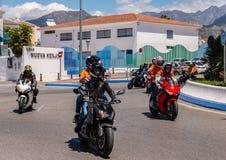内尔哈,西班牙- 2018年6月10日摩托车集会在著名安达 免版税库存照片