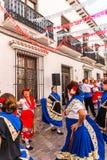 内尔哈,西班牙- 2018 5月04日,由一个小组的民间舞展示peopl 免版税库存图片