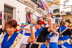 内尔哈,西班牙- 2018 5月04日,由一个小组的民间舞展示peopl 图库摄影