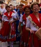内尔哈,西班牙- 2018 5月04日,由一个小组的民间舞展示peopl 库存图片