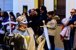 内尔哈,西班牙- 2月10,在服装庆祝的2018People 免版税库存照片