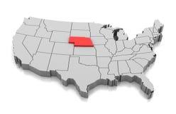 内布拉斯加状态,美国地图  皇族释放例证