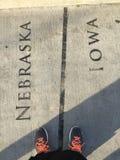 内布拉斯加衣阿华边界线 免版税图库摄影