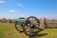 内战大炮在葛底斯堡,宾夕法尼亚 库存照片