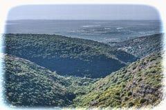 内盖夫加利利山鸟瞰图在以色列 库存图片