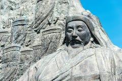 内蒙古,中国- 2015年8月10日:在站点的忽必烈雕象 免版税库存照片