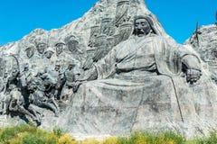 内蒙古,中国- 2015年8月10日:在站点的忽必烈雕象 免版税库存图片