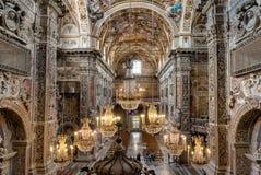 内部、壁画和圣诞老人Caterina教会的建筑细节在巴勒莫,意大利 图库摄影