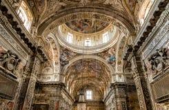 内部、壁画和圣诞老人Caterina教会的建筑细节在巴勒莫,意大利 库存图片
