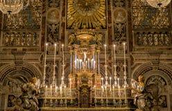 内部、壁画和圣诞老人Caterina教会的建筑细节在巴勒莫,意大利 免版税库存照片