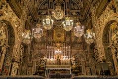 内部、壁画和圣诞老人Caterina教会的建筑细节在巴勒莫,意大利 库存照片