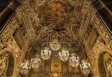 内部、壁画和圣诞老人Caterina教会的建筑细节在巴勒莫,意大利 免版税库存图片