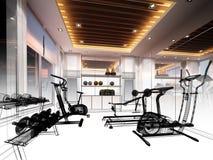 内部健身室抽象剪影设计  免版税库存照片