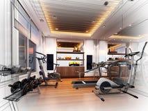 内部健身室抽象剪影设计  库存照片