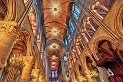 内部其中一个最旧的大教堂在欧洲Notre Dame 免版税库存图片