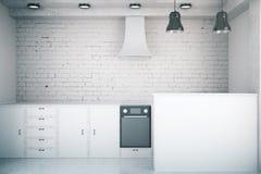 内部厨房白色 皇族释放例证