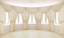 内部古典的窗帘 免版税库存照片