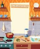 内部和烹调成份例证的厨房 免版税库存图片