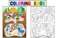 内部和蚂蚁家庭生活在蚁丘着色的儿童动画片的导航例证 库存例证
