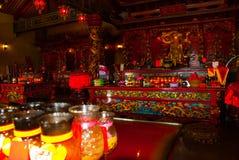 内部图阿Pek孔中国人寺庙 民都鲁市,婆罗洲,沙捞越,马来西亚 免版税库存图片
