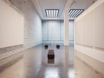 画廊内部大模型与棕色长凳的和 免版税库存照片