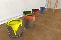 内部室和油漆罐头 库存照片