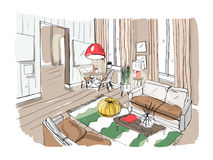内部居住的现代空间 用装备的绘图室 在轻的背景的五颜六色的传染媒介例证剪影 皇族释放例证