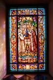 内部彩色玻璃在普伊格圣玛丽皇家修道院里  库存照片