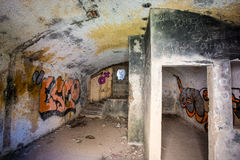 内部德国地堡在布里坦尼, 库存图片