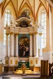 内部撒克逊人的教会copsa母马特兰西瓦尼亚 免版税库存照片