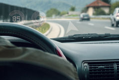 内部汽车驾驶舱hud显示 免版税库存照片