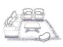 内部沙发扶手椅子线 免版税库存图片