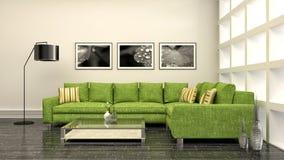 内部沙发 3d例证 库存照片