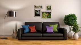 内部沙发 3d例证 库存图片