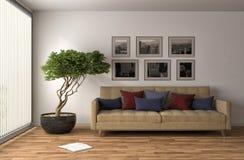 内部沙发 3d例证 图库摄影