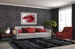 内部沙发 3d例证 免版税图库摄影
