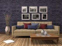 内部沙发 3d例证 免版税库存照片