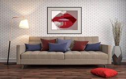 内部沙发 3d例证 免版税库存图片