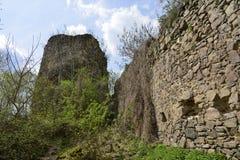 从内部法院看见的Bologa中世纪堡垒的主要塔 图库摄影