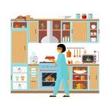 内部现代厨房和烹调食物 向量例证