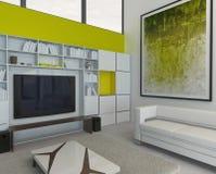 内部现代绿色和白色色的客厅 免版税库存照片