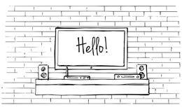 内部的线性剪影 有电视和架子的梳妆台 也corel凹道例证向量 库存照片