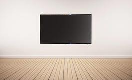 内部空间、橡木地板与白色墙壁和LED聪明的电视 库存图片
