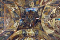 内部绘画Boyana教会 免版税库存图片