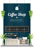 内部背景,现代咖啡店柜台酒吧场面 皇族释放例证