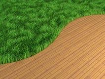 内部草坪木条地板 库存照片