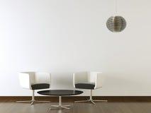 内部装饰业在空白墙壁上的黑色家具 库存照片
