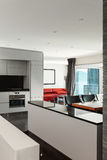 内部,美丽的现代apartmen 库存图片