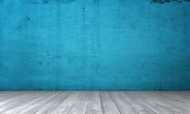 内部翻译与蓝色混凝土墙和木地板的 库存图片